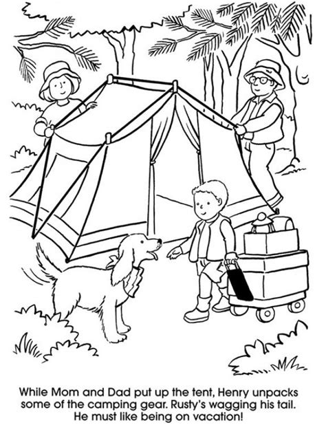 camping family with coloring pages coloring 673 | 8c47966c81081875bcdc972212845480