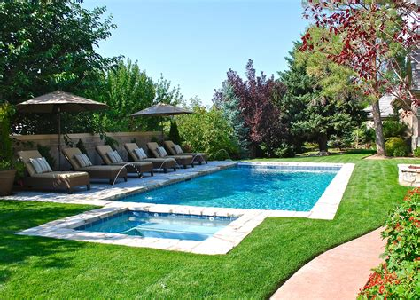 spa pool landscaping backyard swimming pool with minimal decking deckjets and lounge chairs spa and pool www