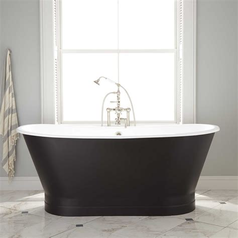 kateryn bateau cast iron skirted tub black bathroom