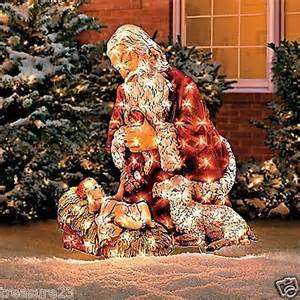 christmas santa baby jesus outdoor lighted yard display holiday decor