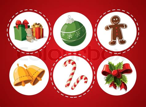 set of christmas items stock vector colourbox