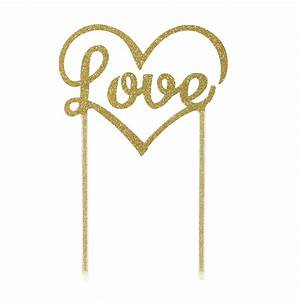 Gold Love Wedding Cake Topper at Favour This