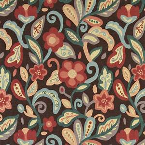 Teal, Blue, Orange, Red And Brown, Floral Upholstery