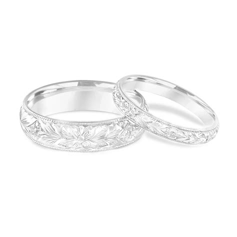 platinum matching wedding rings his and hers wedding bands engraved wedding bands