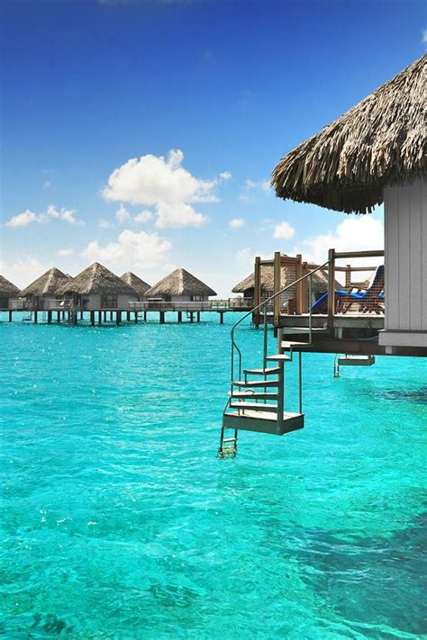 Over Water Bungalows With Steps Into Lagoon Luxury Beach