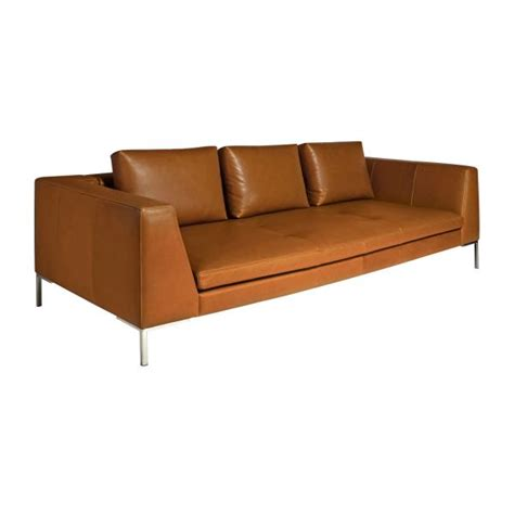 montino 3 seater sofa in vintage aniline leather chestnut habitat