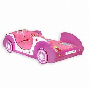 Lit Voiture 90x190 : lit voiture rose motif fleur sommier 90x200 inclus achat ~ Teatrodelosmanantiales.com Idées de Décoration