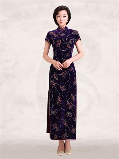 mandarin collar short sleeve long black velvet cheongsam