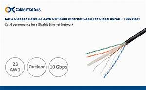 Amazon Com  Cable Matters Cat 6 Outdoor Rated 23 Awg Utp Bulk Ethernet Cable For Direct Burial