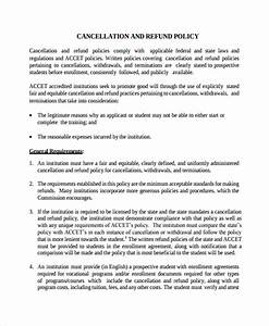 Cancellation policy template 8 free documents download for Refund cancellation policy template