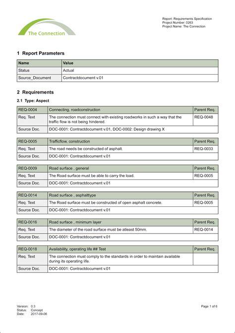 Report Requirements Specification Template by Hoe Maak Je Een Eisenspecificatie Met Parameters Relatics