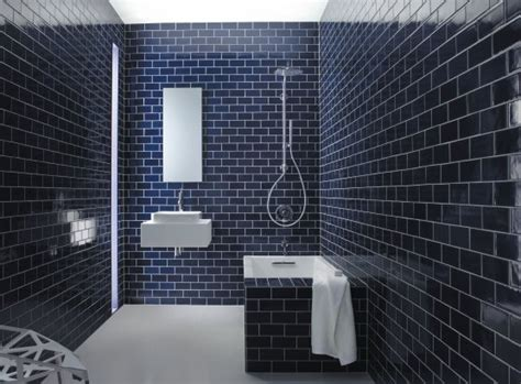 tiles navy blue subway tile and the hydrorail shower hmm pretty blue subway tile house and home