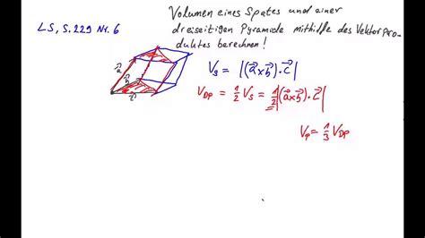 oberstufe vektorprodukt volumen spat und pyramide