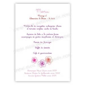 menus de mariage menu mariage fleurs de cerisier menu de mariage fleurs de cerisier