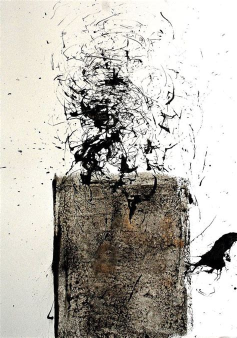 Abstract Black And White Ink Painting by Original Abstract Ink Drawing Cosmo Black And