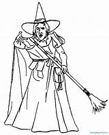 Witch Coloring Halloween Pages Cute sketch template