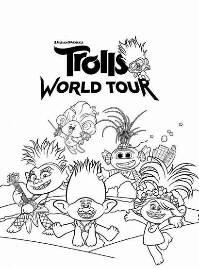 Trolls Coloring Tour Pages Dreamworks Printable Barb