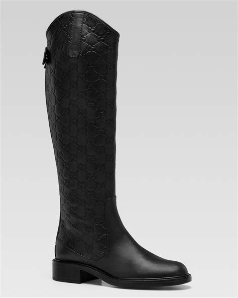 lyst gucci maud tall flat boot  black