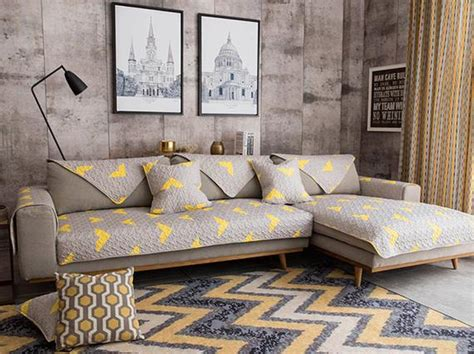 Yellow Loveseat Slipcover by Grey Yellow Geometric Sofa Cover Slipcover Loveseat