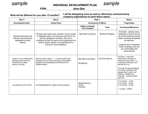 Idp Template by Best Photos Of Personal Development Plan Sle Sle