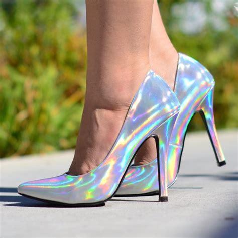 silver hologram holographic heels pumps poshmark
