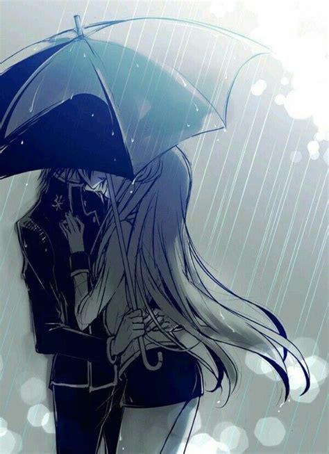 anime kiss in anime girl boy kiss animegirl animeboy rain blackandwhi
