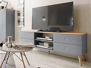 Moderne Tv Möbel : joan tv m bel wohnzimmer lowboard 162 eiche grau ~ Michelbontemps.com Haus und Dekorationen