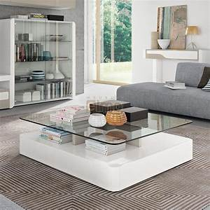 Table Basse Moderne : table basse design moderne laque plateau verre coins ~ Melissatoandfro.com Idées de Décoration