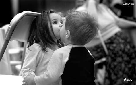 boy kiss  child girl black  white hd baby kiss