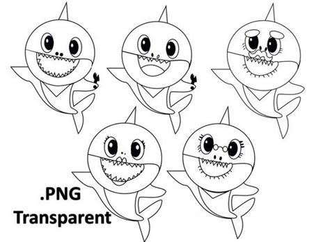 Baby Shark outline Use the printable outline for crafts