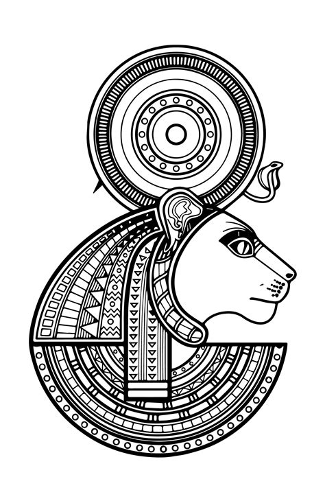 Sekhmet - Goddess of War, Destruction and Healing | Egyptian drawings, Ancient egyptian art