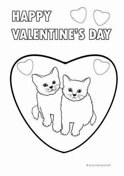 Kittens Valentine Coloring Pages Hearts Valentines Happy