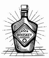 Whiskey Bottle Label Drawn Still Drink sketch template