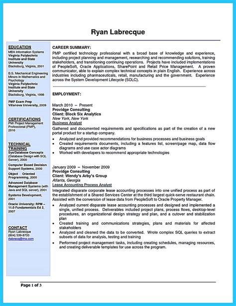 Business Systems Analyst Resume by Cool Best Secrets About Creating Effective Business