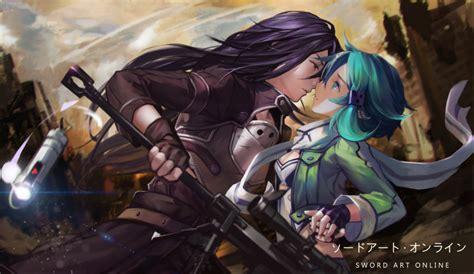 Wallpaper Sword Art Online 2 Kirito X Shino Profile View