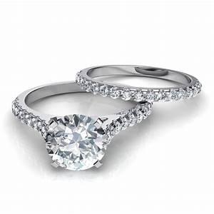 Tall Cathedral Engagement Ring Wedding Band Bridal Set
