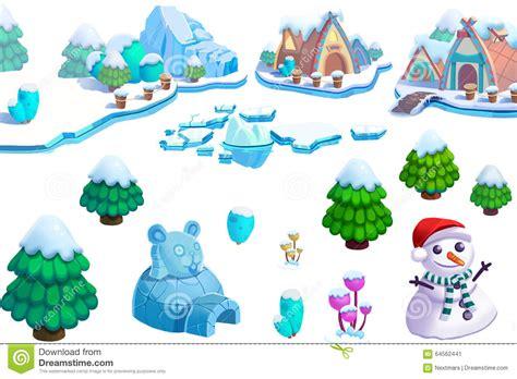 illustration winter snow ice world theme elements design