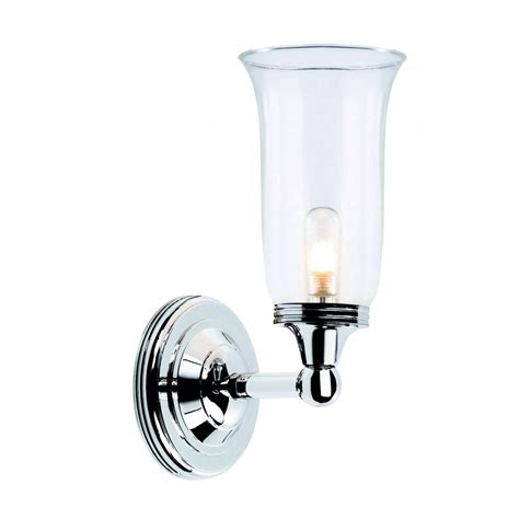 traditional chrome bathroom wall light with glass