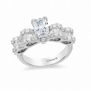 Enchanted disney snow white 1 3 4 ct tw emerald cut for Snow white wedding ring
