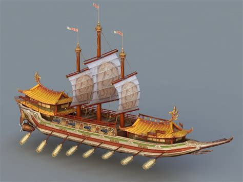 Ancient Chinese War Ship 3d model 3ds Max files free