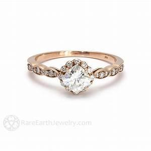 Cushion Cut Moissanite Engagement Ring - Diamond Halo ...