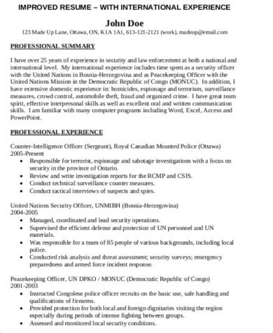 sample police resume  examples  word