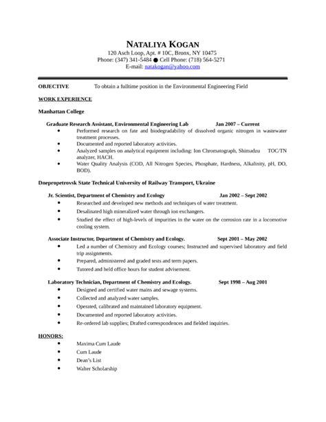 Chronological Resume Engineer by Chronological Environmental Engineer Resume Template