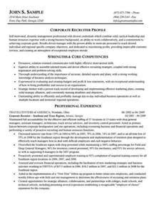 recruiter resume objective sles corporate recruiter resume