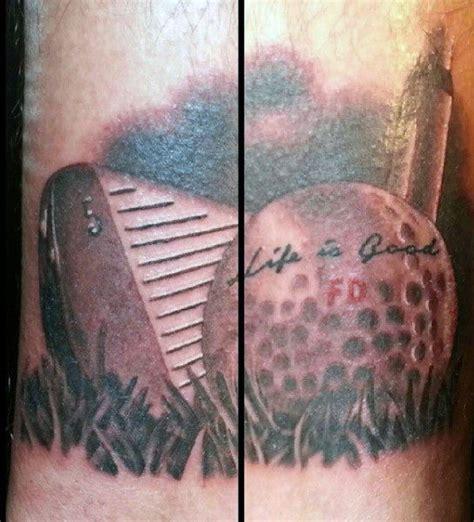 mens torso life  good golf ball tattoo tattoo
