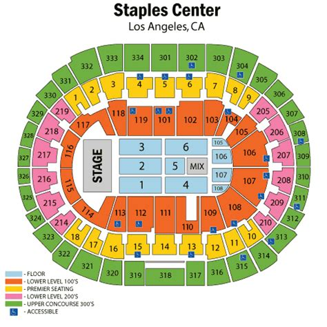 staples center los angeles  schedule seating