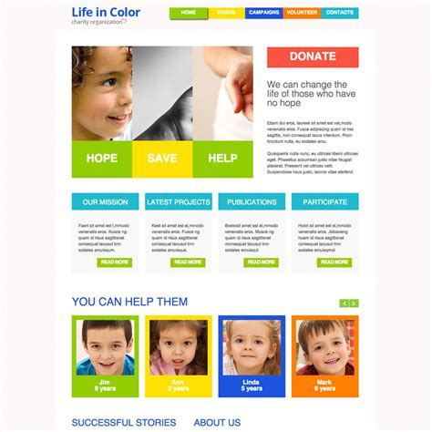 colorful websites colorful charity free responsive template
