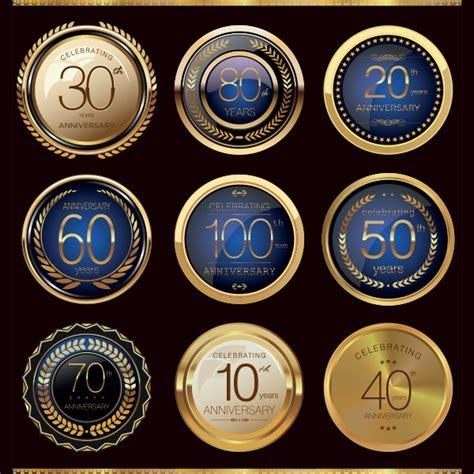 9 Golden Glass Anniversary Award Badges Set 41   WeLoveSoLo