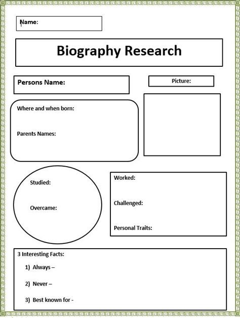 biography research graphic organizer sp ed project