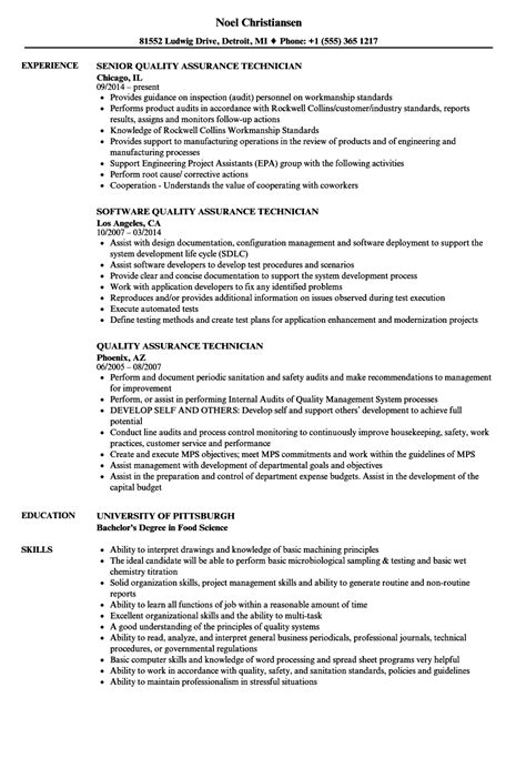 Quality Technician Resume Sle by Quality Assurance Technician Resume Sles Velvet